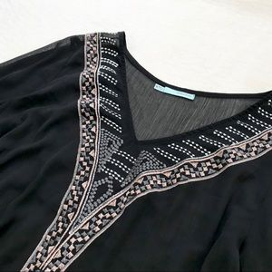 Maurices Embroidered Sheer Top with Bell Sleeves